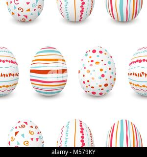 Set of white Easter eggs seamless pattern. simple pink, orange, red, blue stripes, patterns points, confetti, waves, flourishes. Can be used for for w