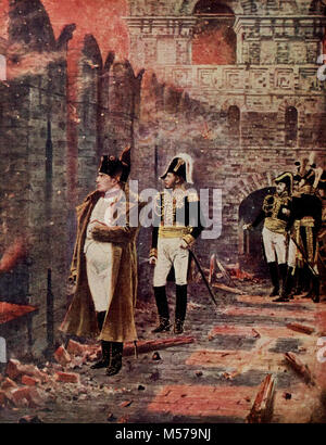 Napoleon watching the fire of Moscow - Stock Photo