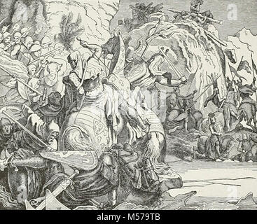 The Battle at Morgarten. The Battle of Morgarten occurred on 15 November 1315, when a 1,500-strong force from the - Stock Photo