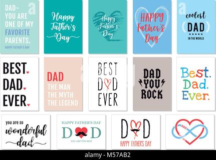 Father's day cards with hand-drawn graphic design elements, vector set - Stock Photo