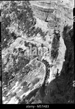 Grand Canyon Historic Kaibab Trail Mule Party. MULE PARTY UP TRAIL, UNION PACIFIC WORK PARTY WHO WERE SNOWED IN - Stock Photo