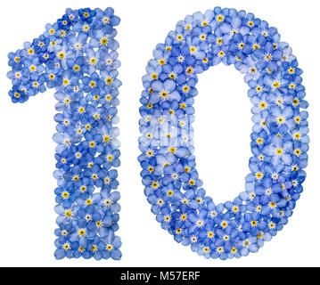 Arabic numeral 10, ten, from blue forget-me-not flowers - Stock Photo