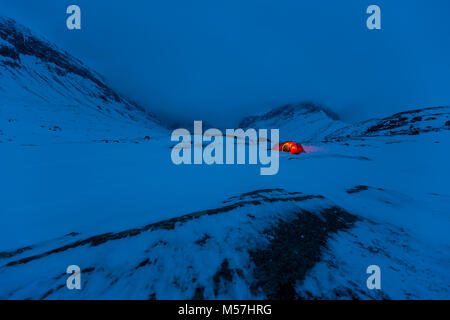 Tent in the snow,Kungsleden or king's trail,Province of Lapland,Sweden,Scandinavia - Stock Photo