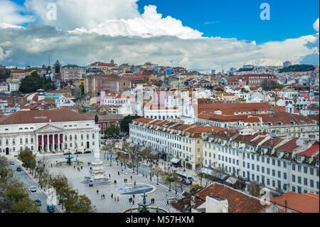 View of Rossio square in the central Lisbon, Portugal - Stock Photo