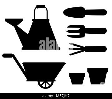 Set of black silhouettes objects for garden iron watering can shovel flower pots rake on white background vector - Stock Photo