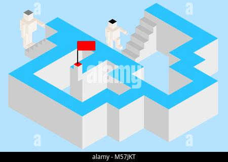 Concepts of business competition, decision making, and problem solving. Two choices with different ways (stairs) - Stock Photo