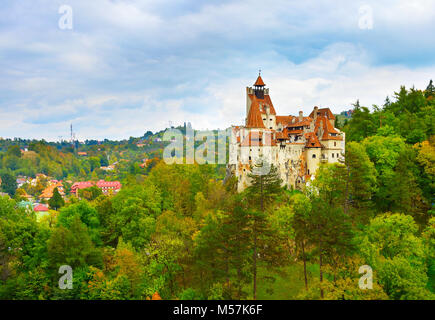 Famous Castle of Bran, known as Count Dracula Castle. Romania - Stock Photo