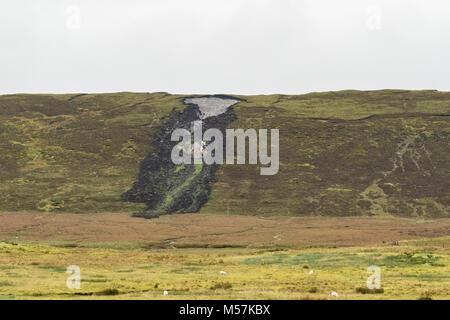 Bog burst or peat landslide slide, Shetland Mainland, Shetland Islands, Scotland, UK - Stock Photo