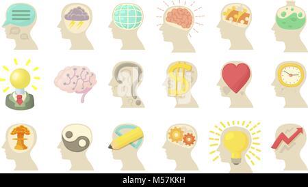 Human mind icon set, cartoon style - Stock Photo