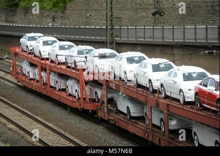 Transport of Audi cars by train in Porta Westfalica, North Rhine Westphalia, Germany. May 11th 2015 © Wojciech Strozyk - Stock Photo