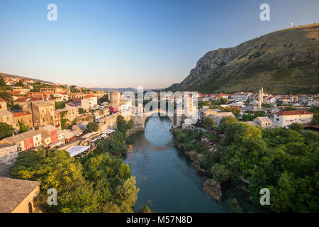 An aerial view of the Neretva river which runs across old town of Mostar and its Old Bridge (Stari Most) area (Bosnia - Stock Photo