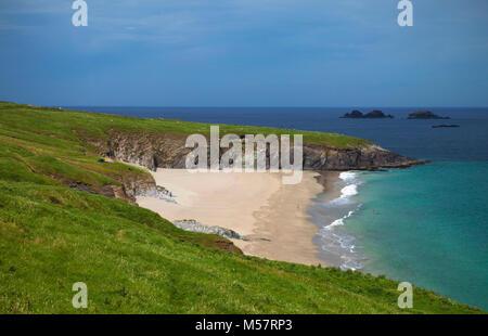 Empty Beach on Great Blasket Island, The Blasket Islands, Off Slea Head on the Dingle Peninsula, County Kerry, Ireland - Stock Photo