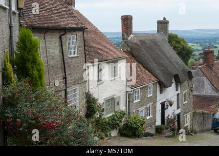 Gold Hill, Shaftsbury, Dorset, England - Stock Photo