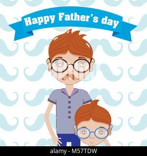 Happy fathers day funny cartoons - Stock Photo