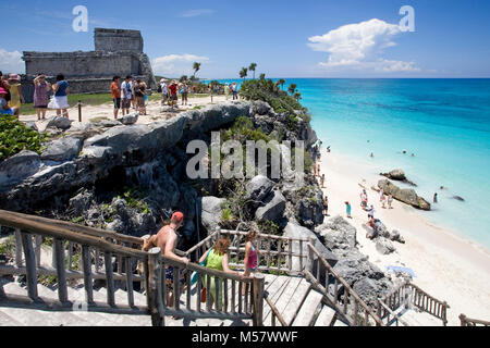 Beautiful beach at Mayan ruins, Tulum Archeological zone, Tulum, Riviera Maya, Quintana Roo, Mexico, Caribbean - Stock Photo