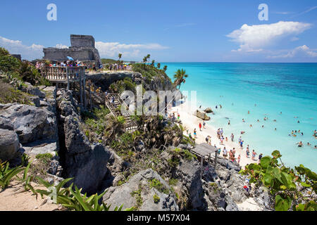Beautiful beach at Mayan ruins, Tulum Archeological zone, Tulum, Riviera Maya, Quintana Roo, Mexico, Caribbean - Stock Photo