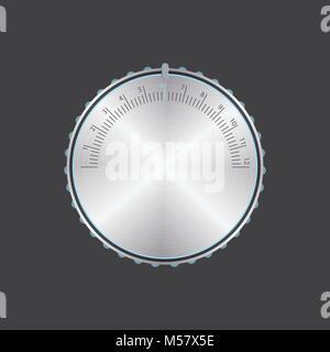 special metallic volume button with chrome texture, vector design, eps10 - Stock Photo