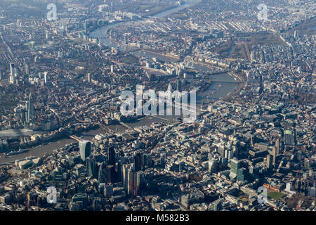 Aerial view of central London looking west along the Thames from the north. - Stock Photo