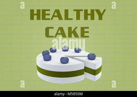 3D illustration of HEALTHY CAKE script above a cake, on pale green. - Stock Photo