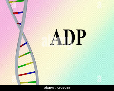 3D illustration of ADP script with DNA double helix , isolated on colored pattern. - Stock Photo