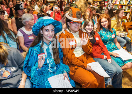 Libba Bray Shannon Hale fiction authors literature teen girls costumes dressed up characters Black audience - Stock Photo