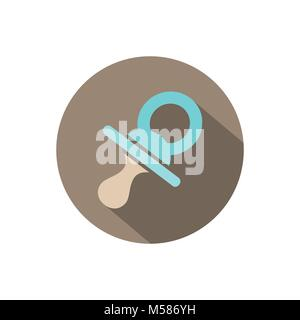 Pacifier icon on a circle with shade. Vector illustration - Stock Photo