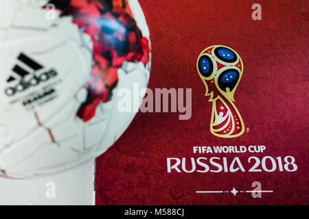 September 14, 2017. Moscow, Russia Official ball of the 2018 FIFA World Cup Adidas Krasava and a calendar with the - Stock Photo