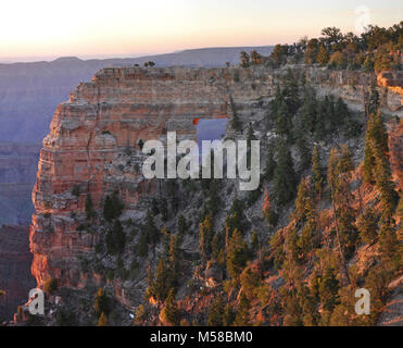 Grand Canyon National Park North Rim Sunrise on Angel's Window. The pink glow of sunrise illuminates Angel's Window, - Stock Photo