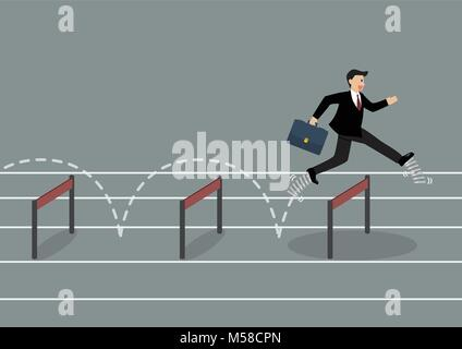 Businessman with elastic spring shoes jumping over hurdle. Business concept