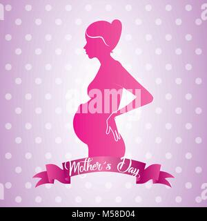 pink profile mom pregnant mothers day ribbon dots shiny background - Stock Photo