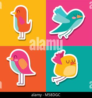 collection of cute colored birds lovely