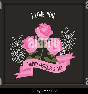 happy mothers day love you pink roses ribbon decoration black background - Stock Photo