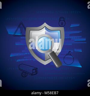 gray shield protection magnifier technology security privacy - Stock Photo