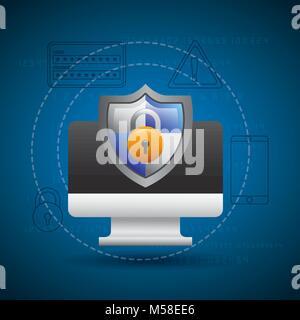 monitor technology shield protection padlock secure - Stock Photo