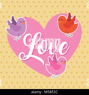 love pink heart and birds flying card - Stock Photo