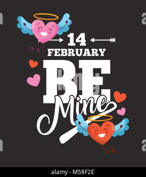14 february be mine card love hearts with wings cartoon dark background - Stock Photo