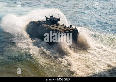 180215-N-XK809-264  GULF OF THAILAND (Feb. 15, 2018) An amphibious assault vehicle, assigned to the 3rd Marine Division - Stock Photo
