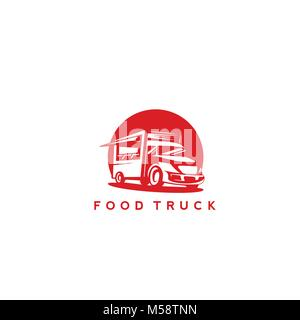 Red food truck vector illustration - Stock Photo