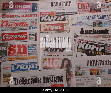 World Newspapers. Collage of paper headlines - Stock Photo