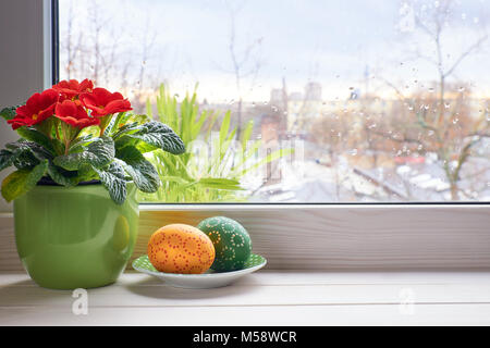 Spring background with red primrose flowers in pot and Easter eggs on the window with raindrops. Space for your - Stock Photo