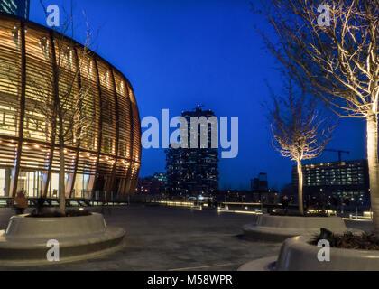 Milan, Italy. A modern city at night - Stock Photo