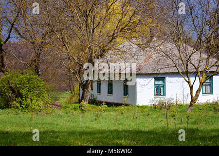 Old traditional ukrainian rural cottage in sunlight of spring - Stock Photo
