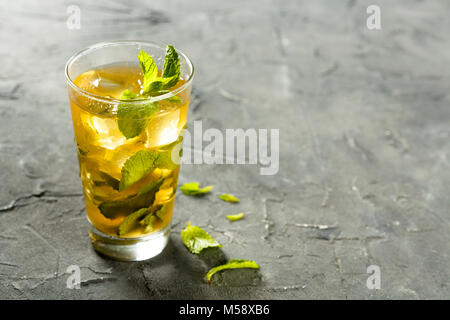 Homemade iced tea with fresh mint - Stock Photo