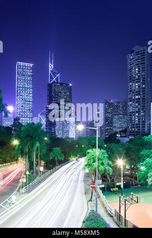 Skyline of skyscrapers from the intersection of Cotton Tree Drive and Garden Road, Chung Wan (Central district), - Stock Photo