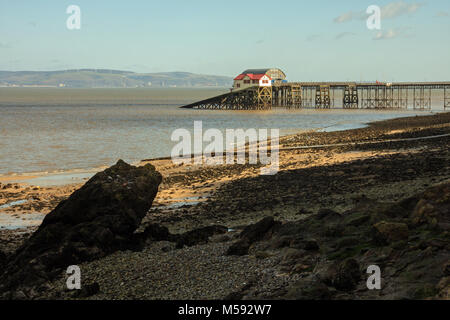 The two Mumbles Lifeboat Stations at end of pier - Stock Photo