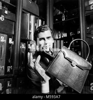 Trevor Pickett, English eccentric, designer and bespoke supplier of leather goods, photographed in his first shop - Stock Photo