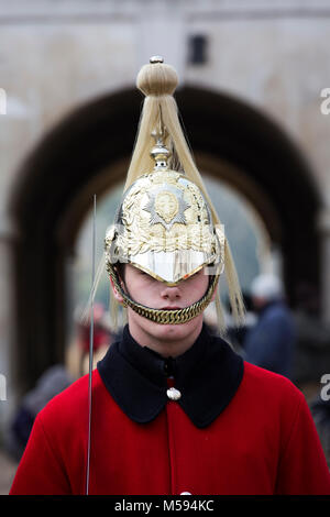 Queen's Life Guard on duty at Horse guards Parade, Whitehall, London, England, United Kingdom - Stock Photo
