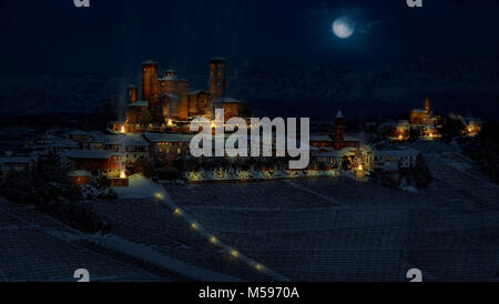 Fantasy photomanipulation of medieval landscape in winter on night with castle and cities - Stock Photo