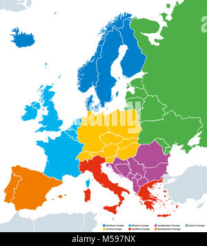 Regions of Europe, political map, with single countries. Northern, Western, Southeastern, Eastern, Central, Southern - Stock Photo