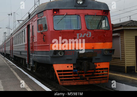 Typical Russian trains on the Trans Siberian Railway - Stock Photo